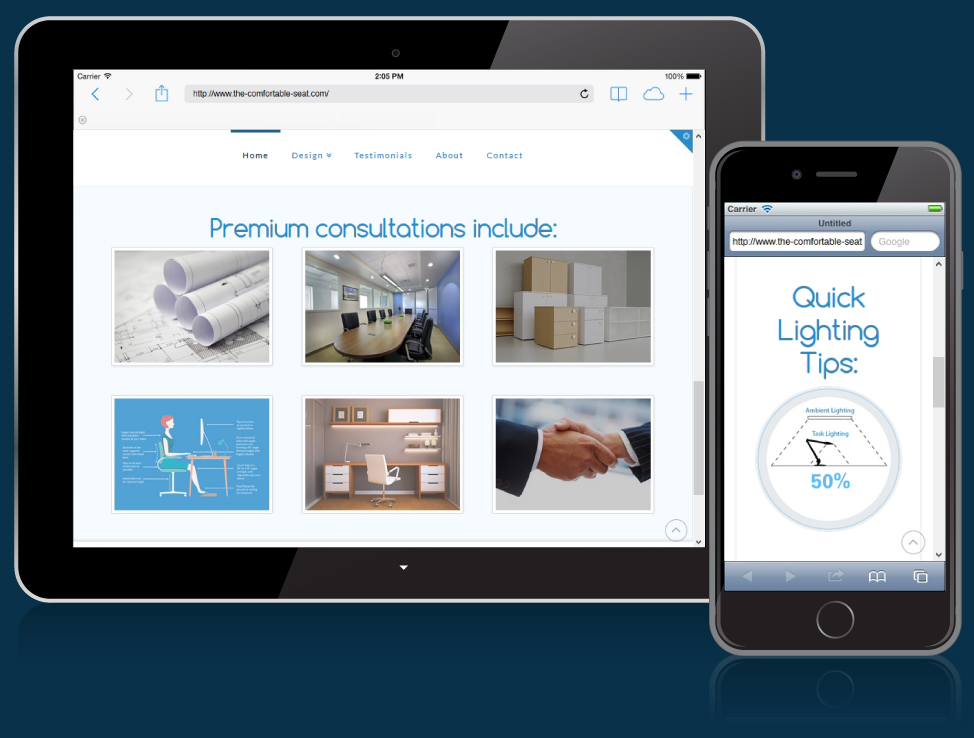 The Comfortable Seat website on mobile devices