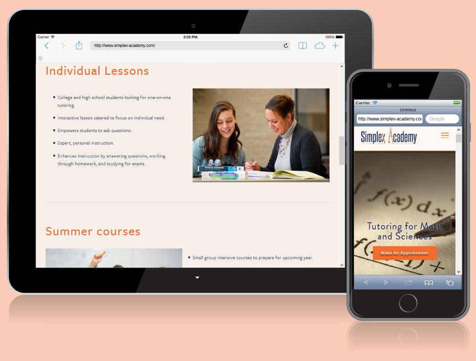 Simplex Academy website on mobile devices