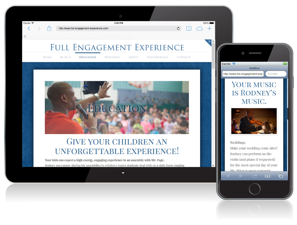 Full Engagement Experience website on mobile devices