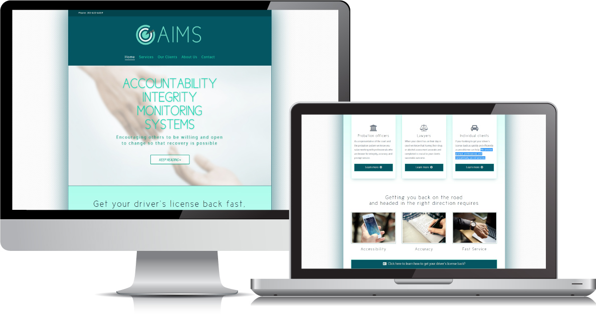 AIMS website on large devices