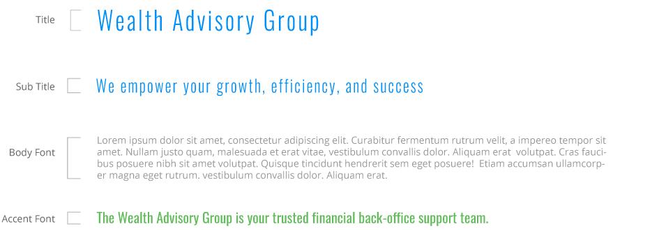 Wealth Advisory Group typography