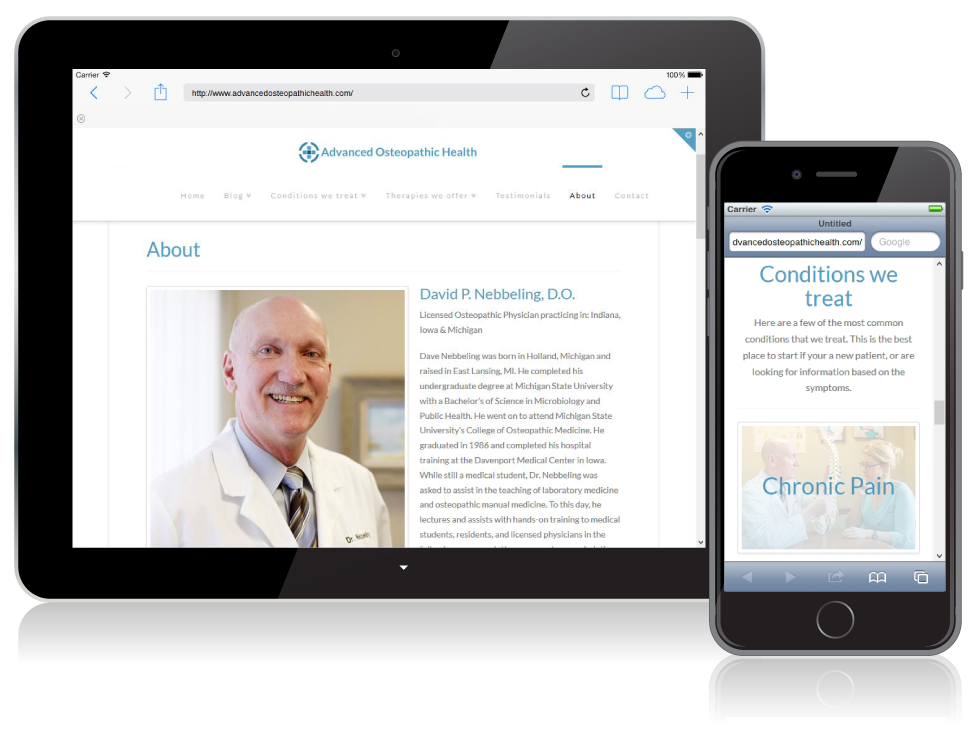 Advanced Osteopathic Health website on mobile devices