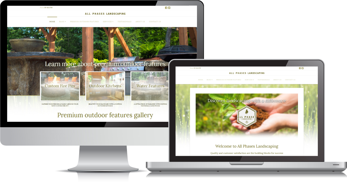 All Phases Landscaping website on large devices