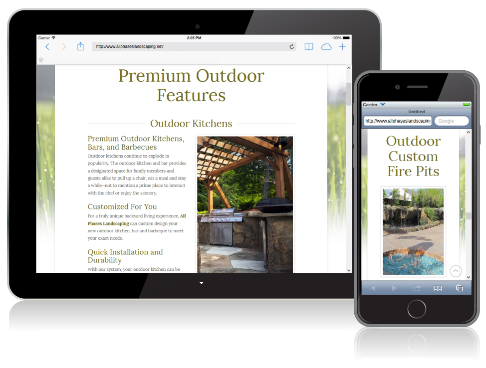 All Phases Landscaping website on small devices