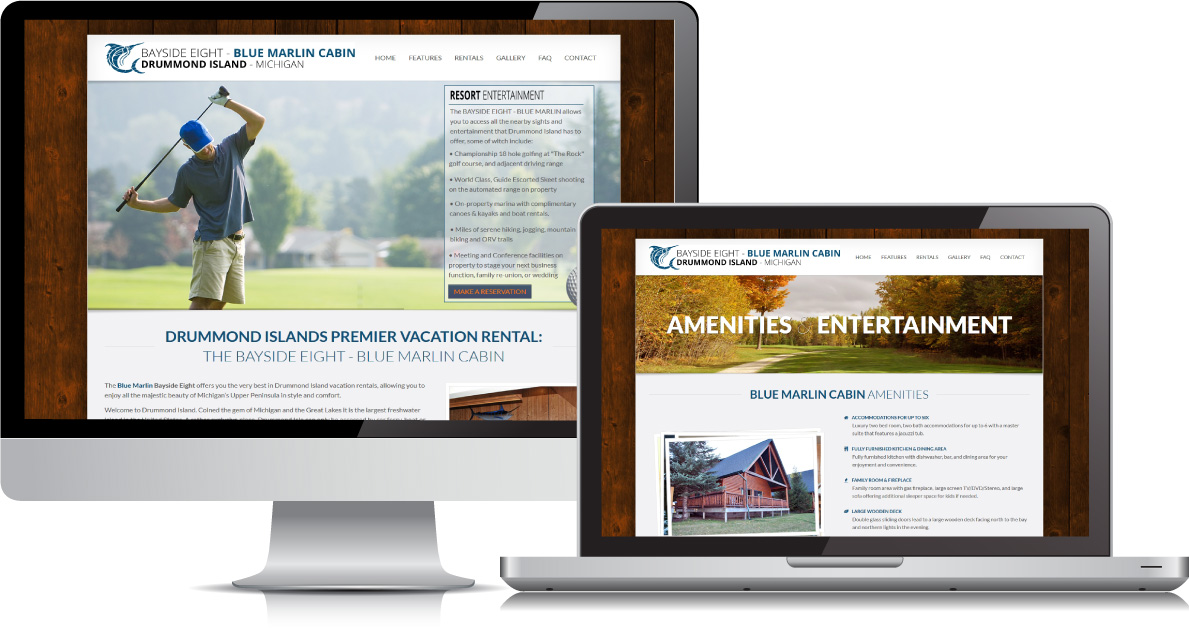 Bayside Eight - Blue Marlin Cabin website on large devices