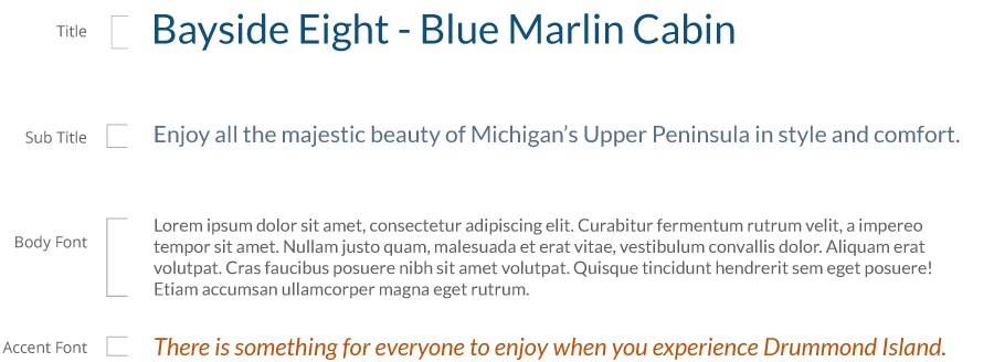 Bayside Eight - Blue Marlin Cabin typography