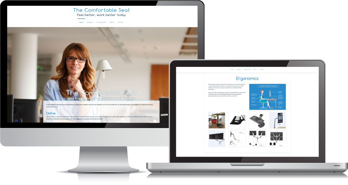 The Comfortable Seat website on large devices