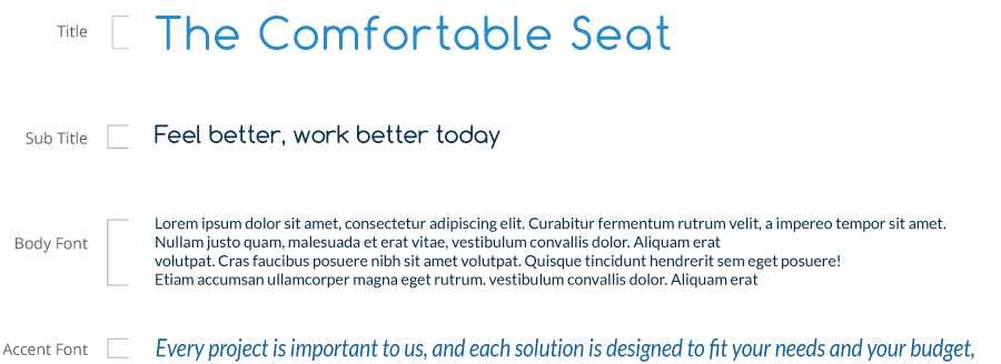 The Comfortable Seat typography