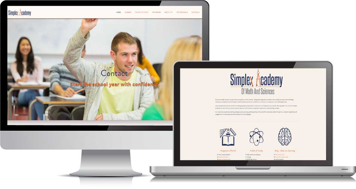 Simplex Academy website on large devices