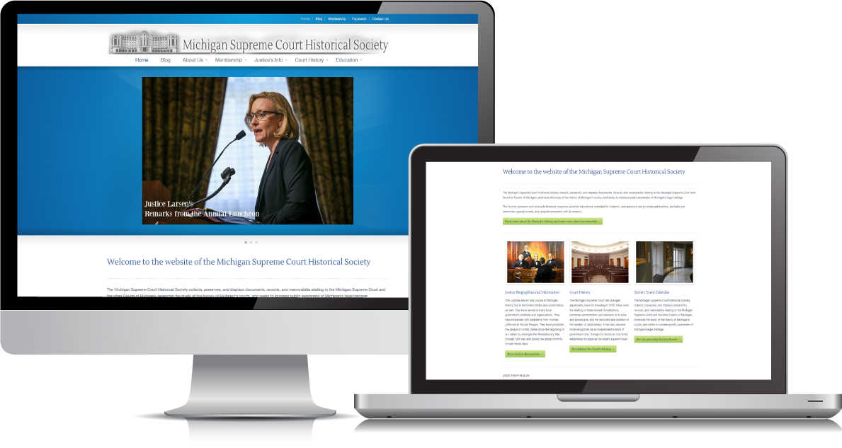 Michigan Supreme Court Historical Society website on large devices