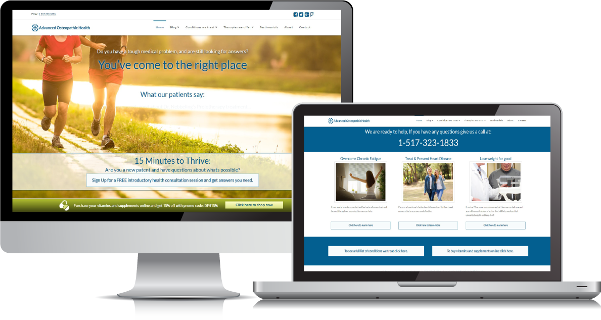 Advanced Osteopathic Health website on large devices