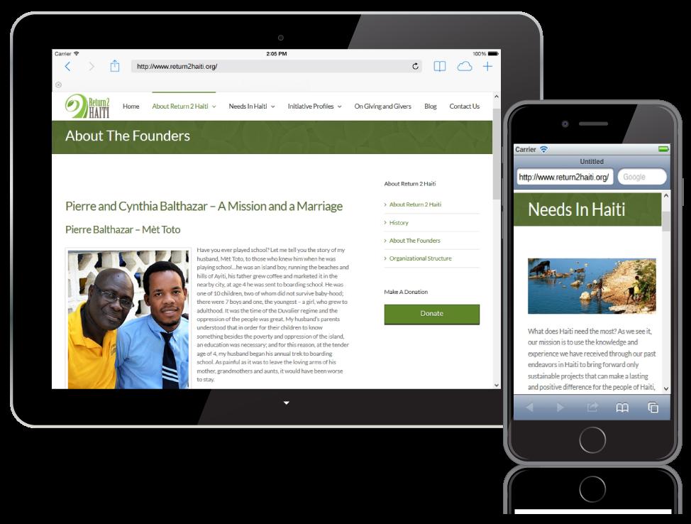 Return2 Haiti website on mobile devices