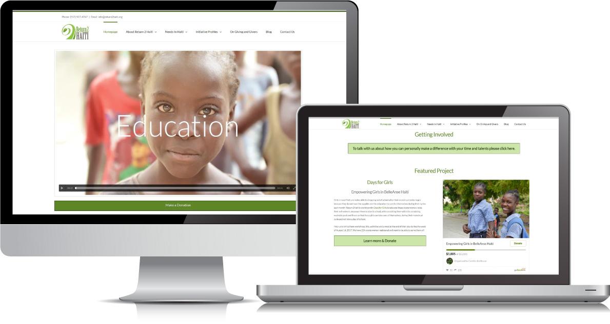 Return2 Haiti website on large devices
