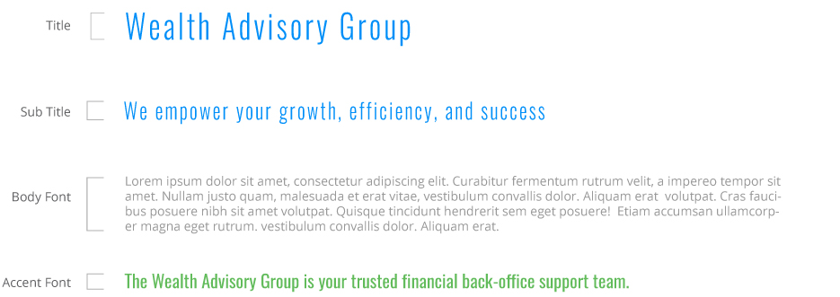 Wealth Advisory Group typography