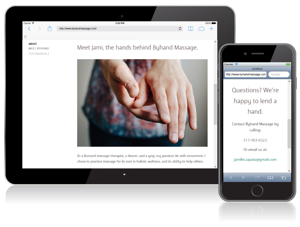 byhand massage website on mobile devices