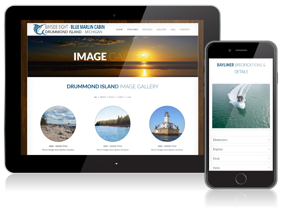 Bayside Eight - Blue Marlin Cabin website on mobile devices