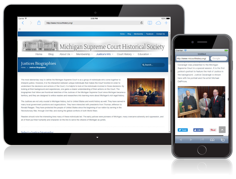 Michigan Supreme Court Historical Society website on mobile devices