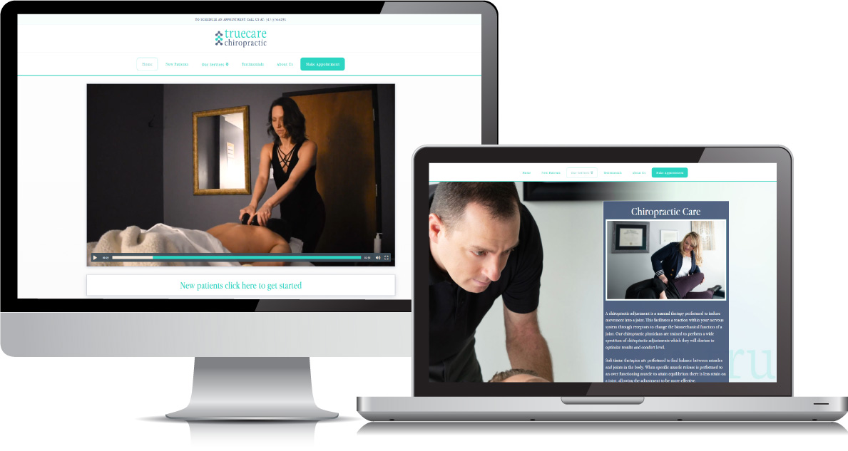 Truecare Chiropractic website on large devices