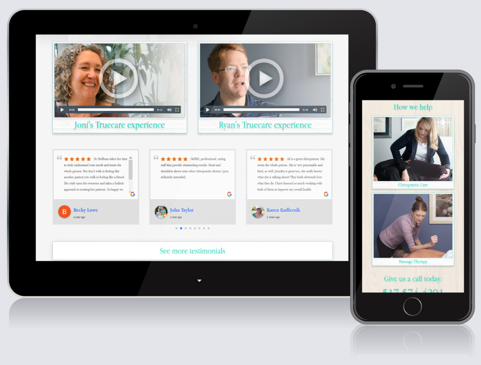 Truecare Chiropractic website on mobile devices